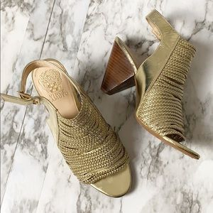 Vince Camuto Gold Braided Open Toe Heel Size 8.5